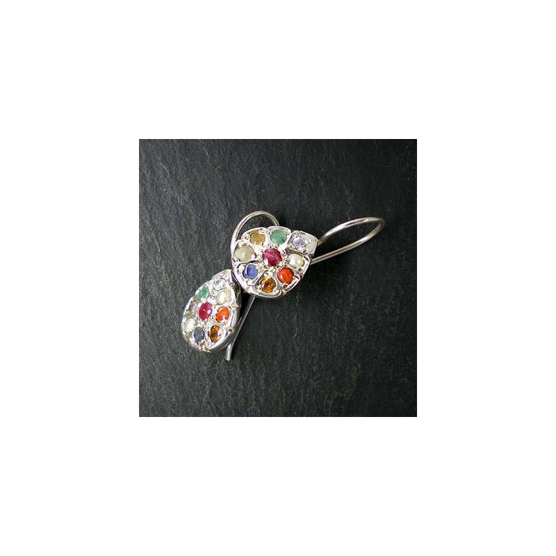 Multicolor Ohrringe mit verschiedenen Edelsteinen