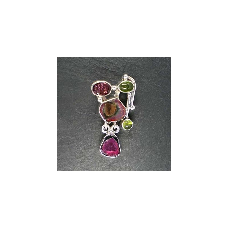Turmalinanhänger multicolor mit Idokras