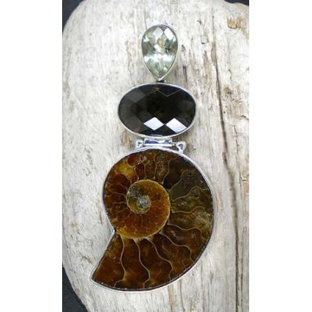 Ammonitanhänger mit Rauchquarz und Prasiolith