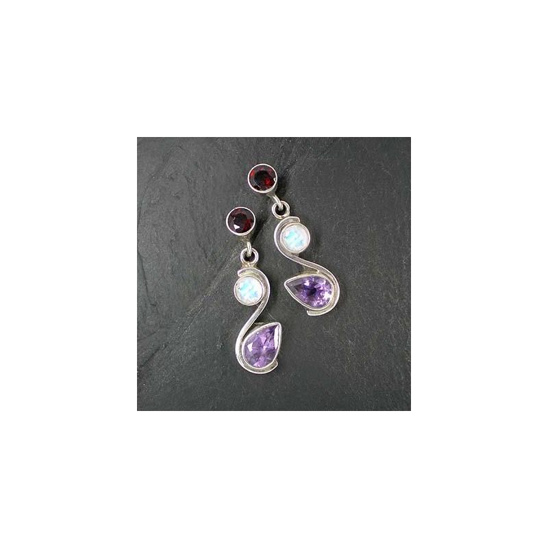 Ohrringe mit Amethyst, Mondstein und Granat