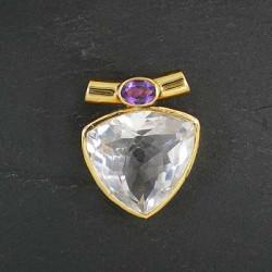 Bergkristallanhänger mit Amethyst, vergoldet (S9)