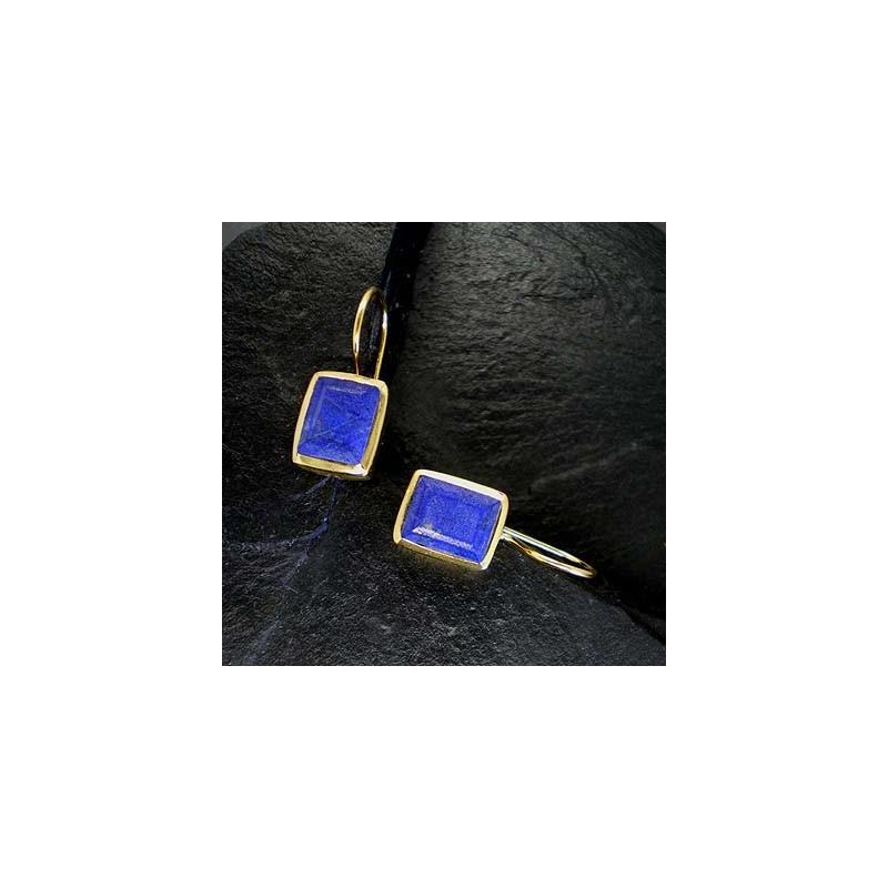 Lapis Lazuli Ohrringe eckig vergoldet