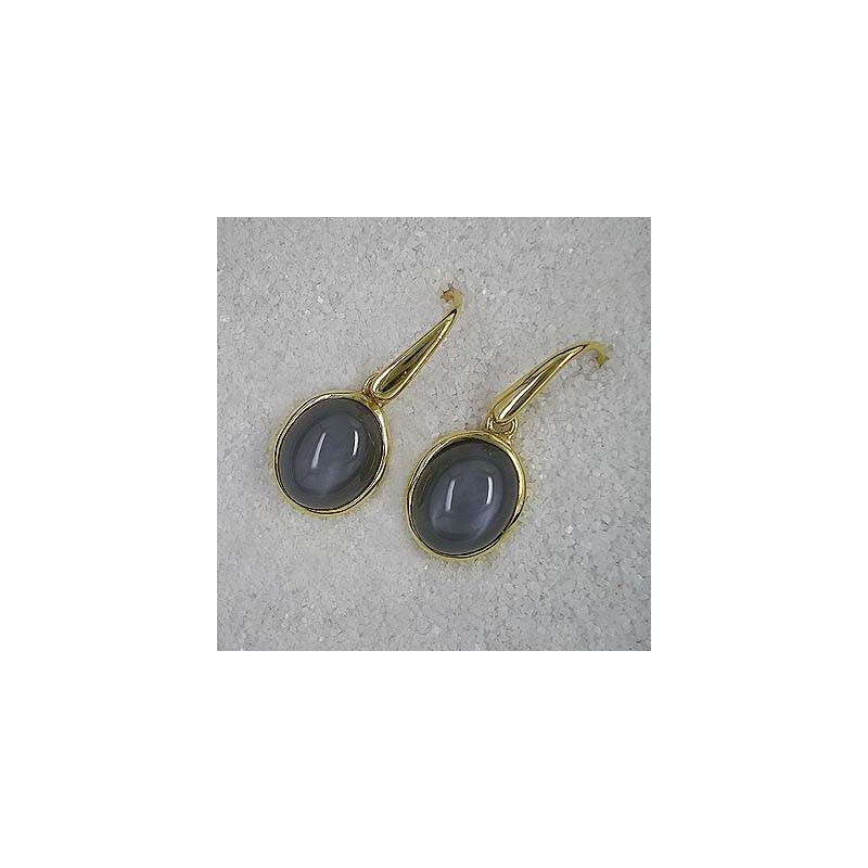 Ohrringe mit grauem Mondstein, vergoldet