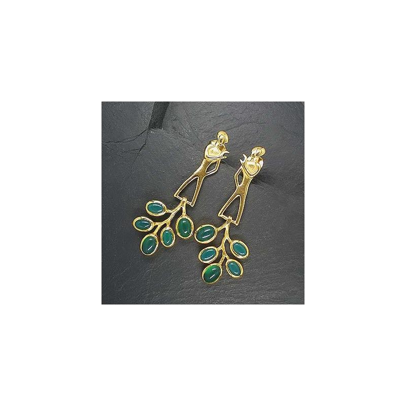 Ohrringe mit grünem Achat vergoldet