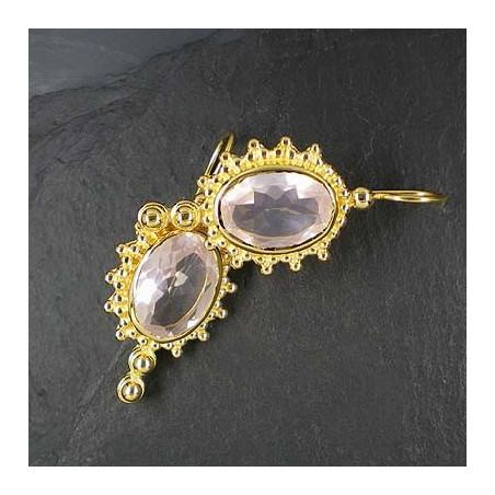 Rosenquarz Ohrringe vergoldet