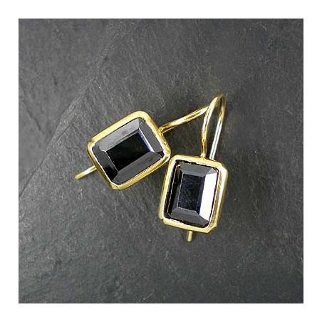 Onyx Ohrringe eckig, vergoldet