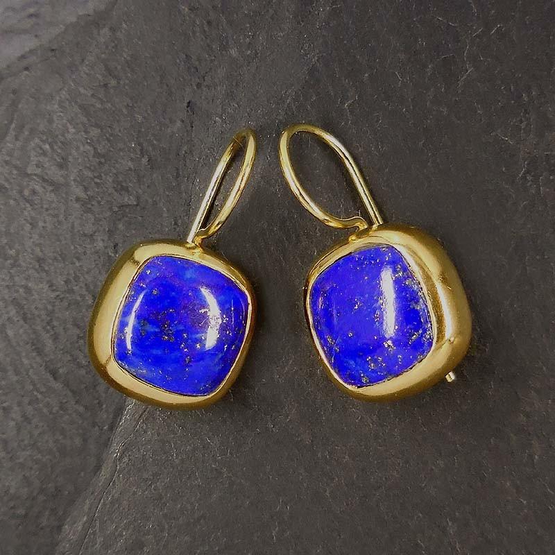 Lapis Lazuli Ohrringe eckig, vergoldet