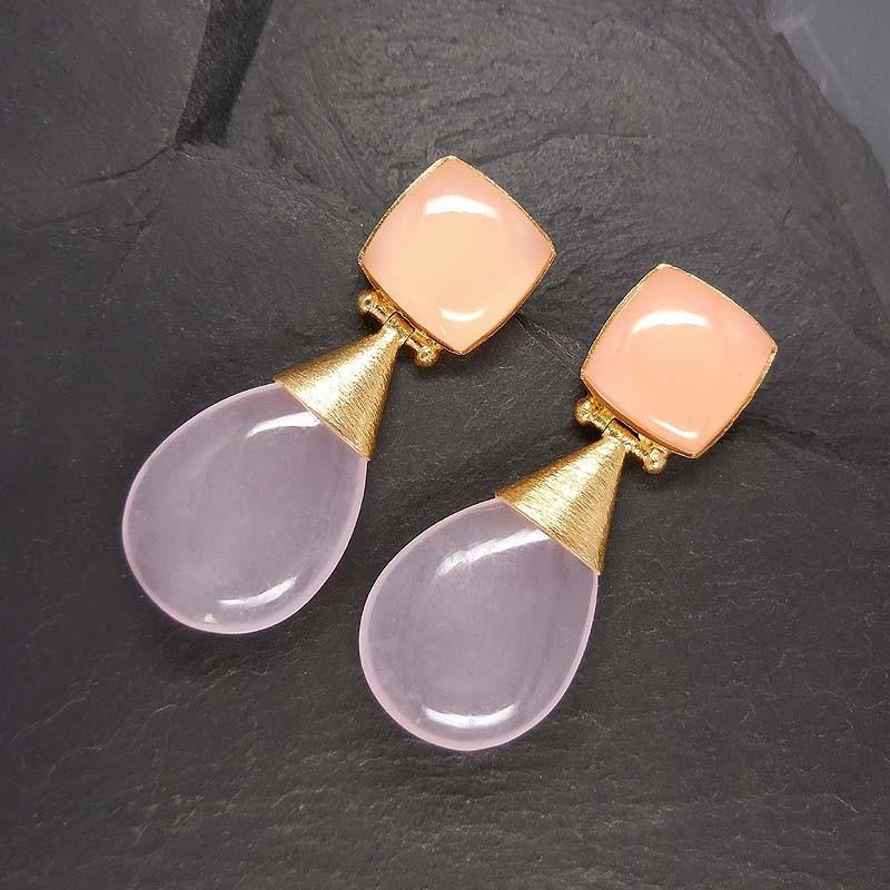 Rosa Calcitohrringe mit 2 Steinen, vergoldet
