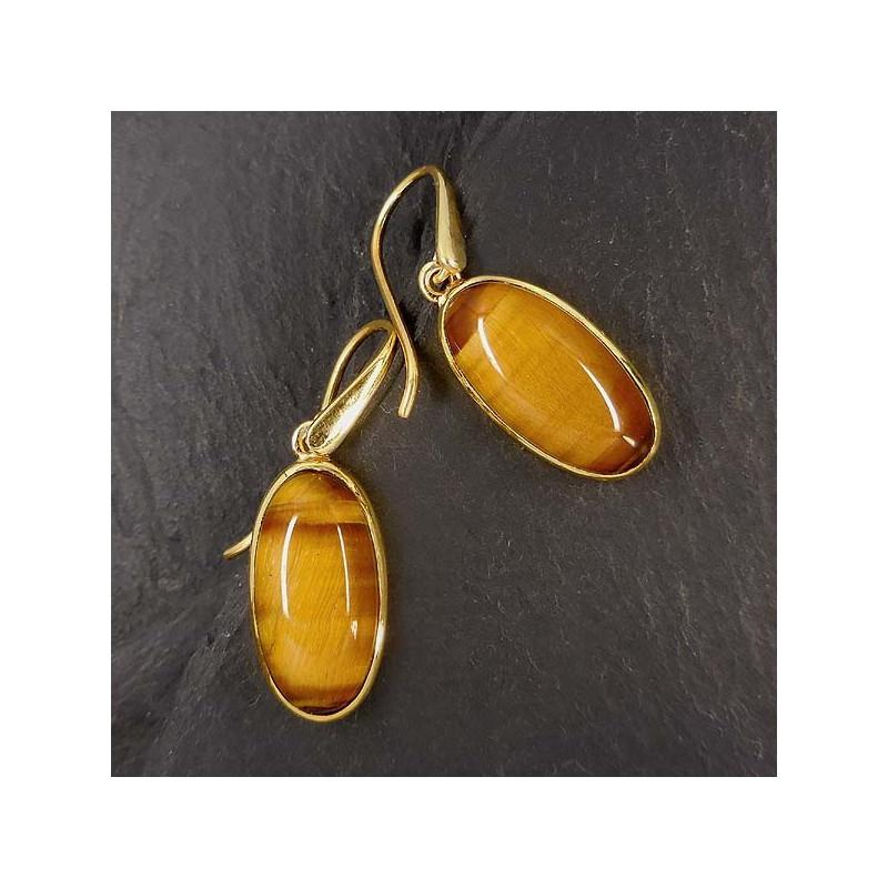 Tigerauge Ohrringe vergoldet