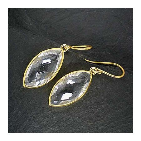 Bergkristall Ohrringe Navette vergoldet