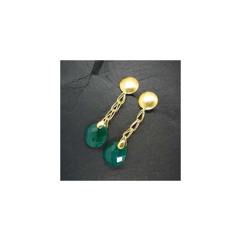 Grüne Achatohrringe vergoldet