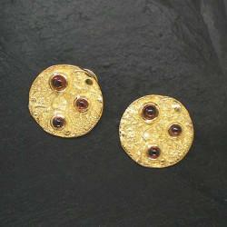 Granatohrstecker vergoldet