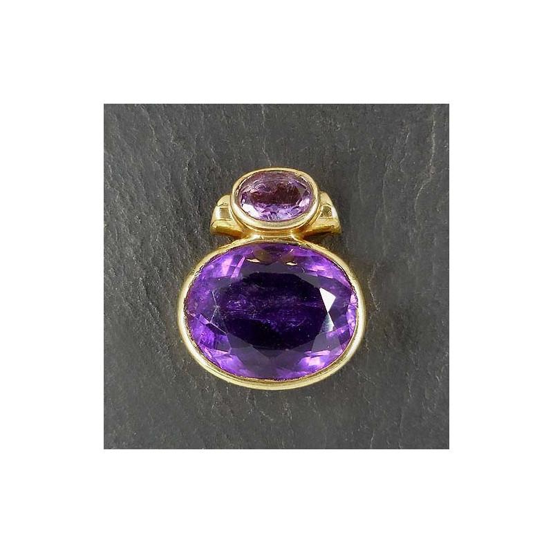Amethystanhänger (2 Steine) vergoldet (S9)