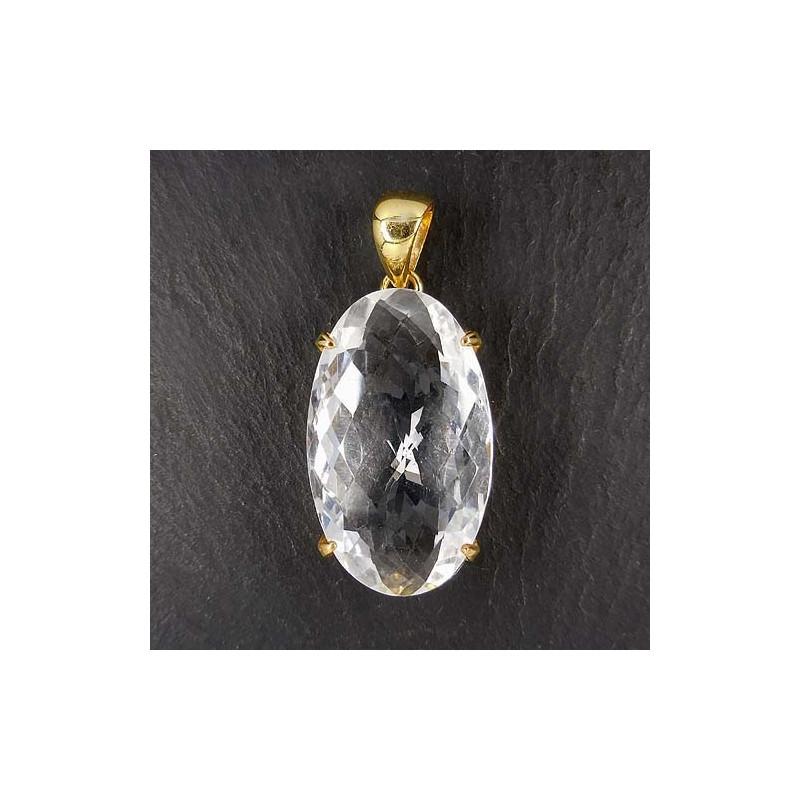 Bergkristall Anhänger vergoldet