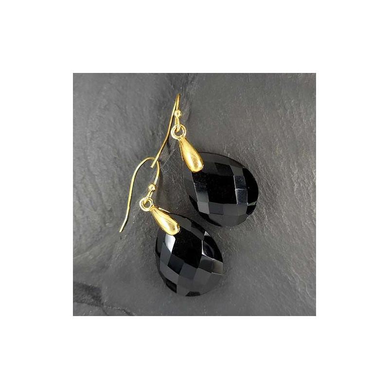 Onyx Ohrringe Tropfen, vergoldet