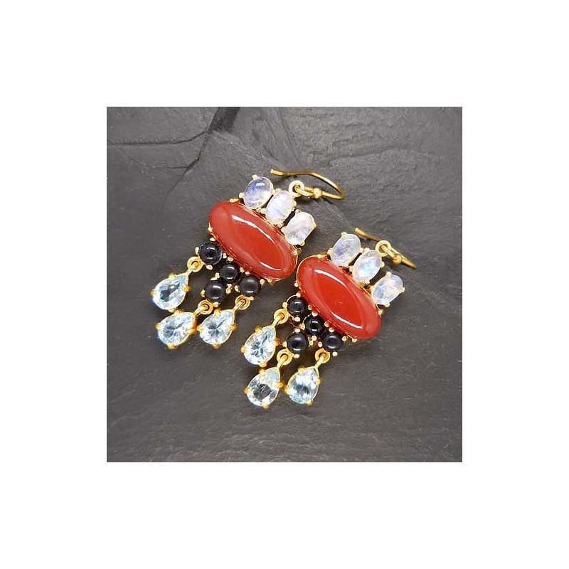 Onyx Ohrringe mit Iolit, Granat und Achat, vergoldet