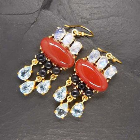 Karneol Ohrringe mit Mondstein, Onyx und Blautopas, vergoldet