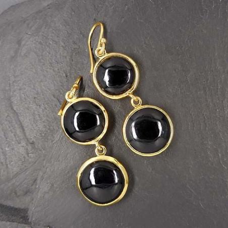 Onyx Ohrringe vergoldet