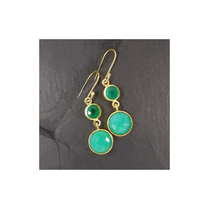 Calcit Ohrringe mit grünem Achat, vergoldet
