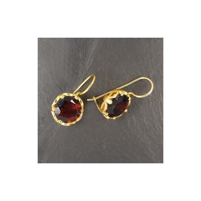 Hessonit Ohrringe rund vergoldet