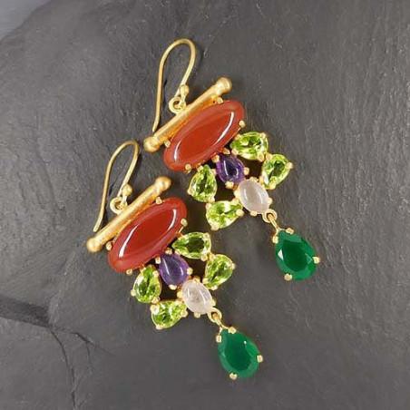 Karneol Ohrringe mit Peridot, Amethyst, Rosenquarz und grünem Achat, vergoldet vergoldet