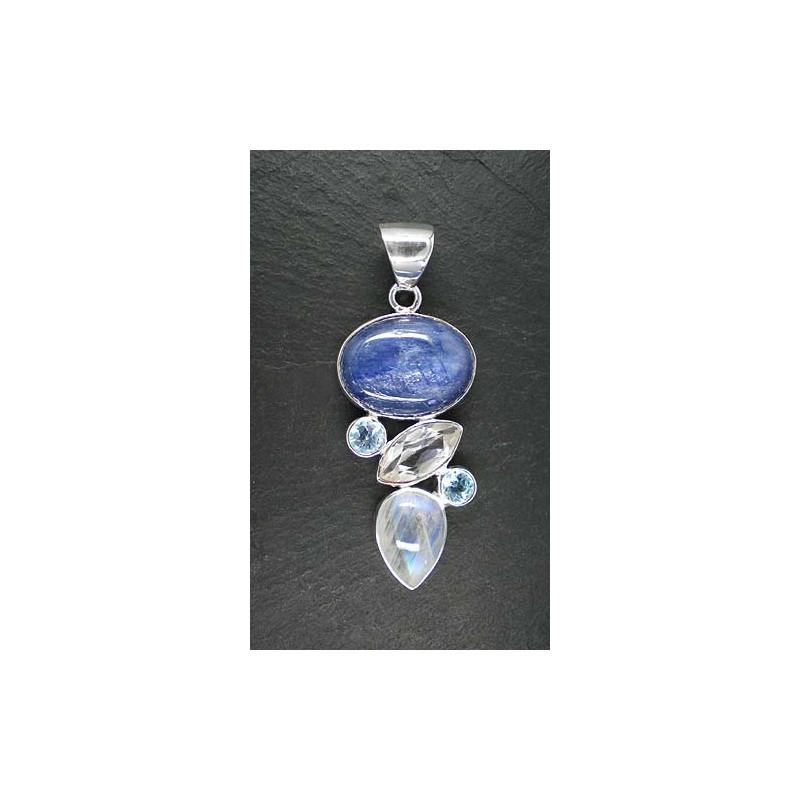 Kyanit Anhänger mit Blautopas, Mondstein und Bergkristall