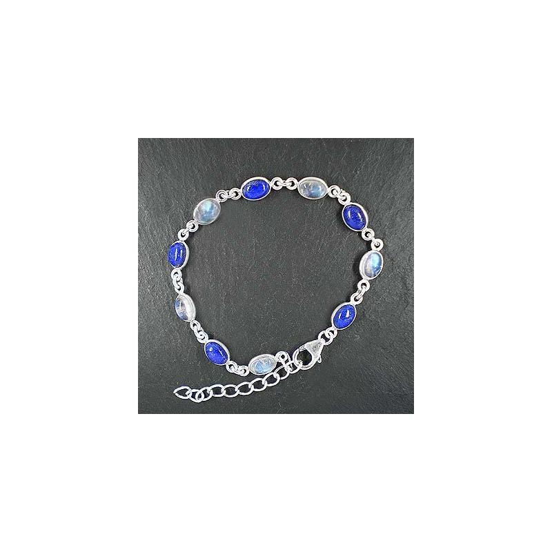 Mondstein Armband mit Lapis Lazuli