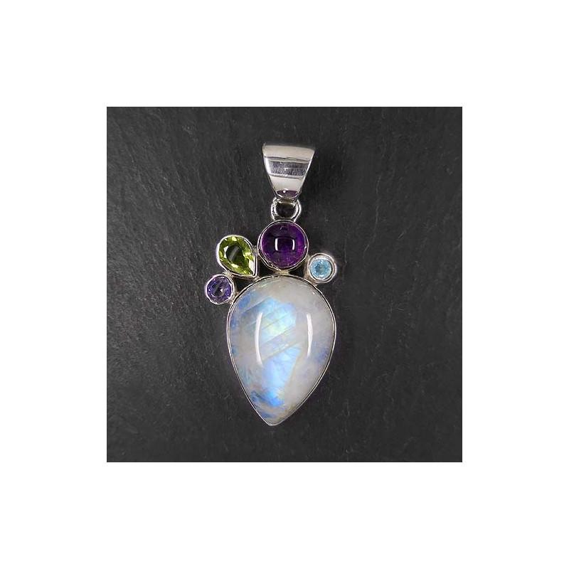 Mondsteinanhänger mit Opal, Sugilith und grünem Turmalin