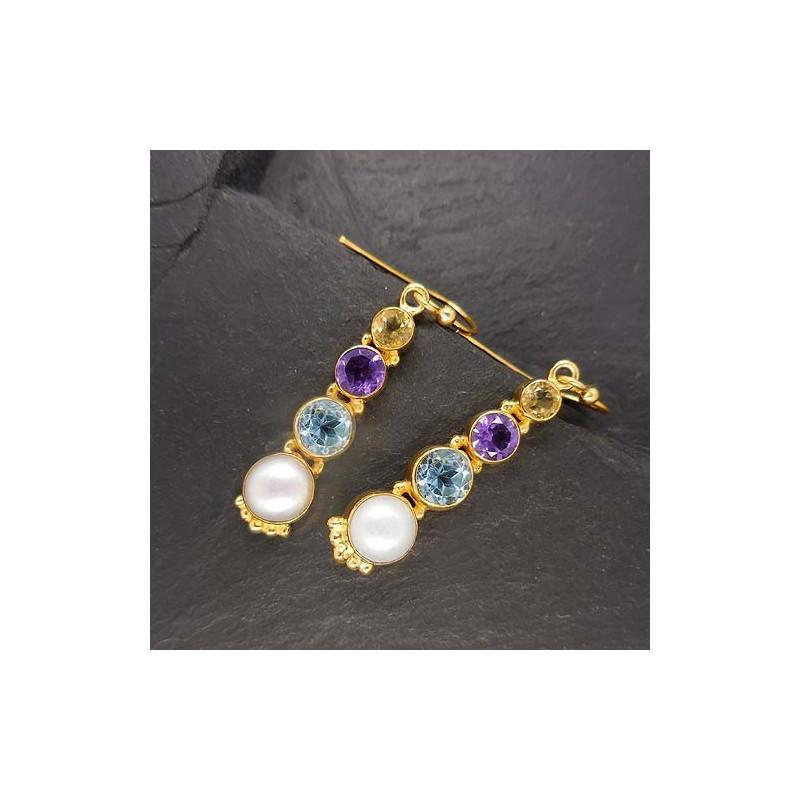 Zirkonia Ohrringe mit Süßwasserperlen vergoldet