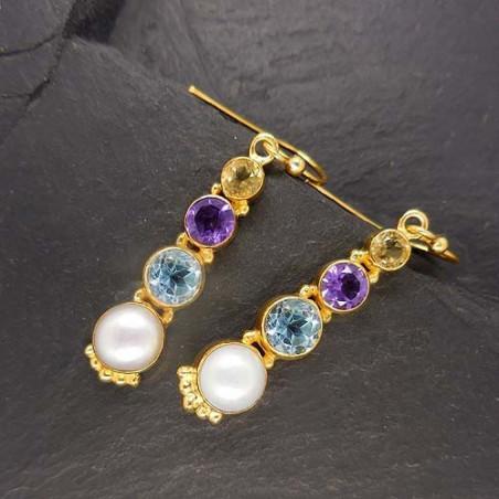 Blautopasohrringe mit Amethyst, Citrin und Perle vergoldet