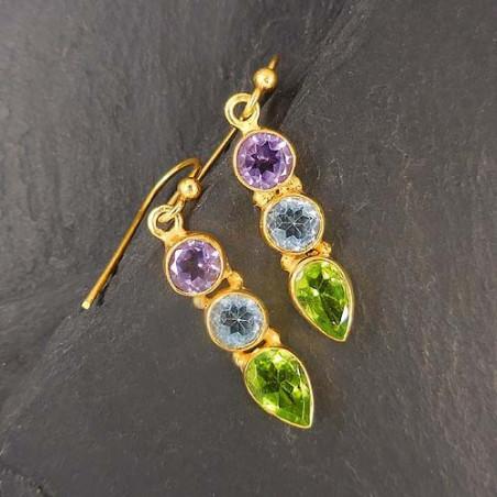 Peridot Ohrringe mit Amethyst und Blautopas vergoldet