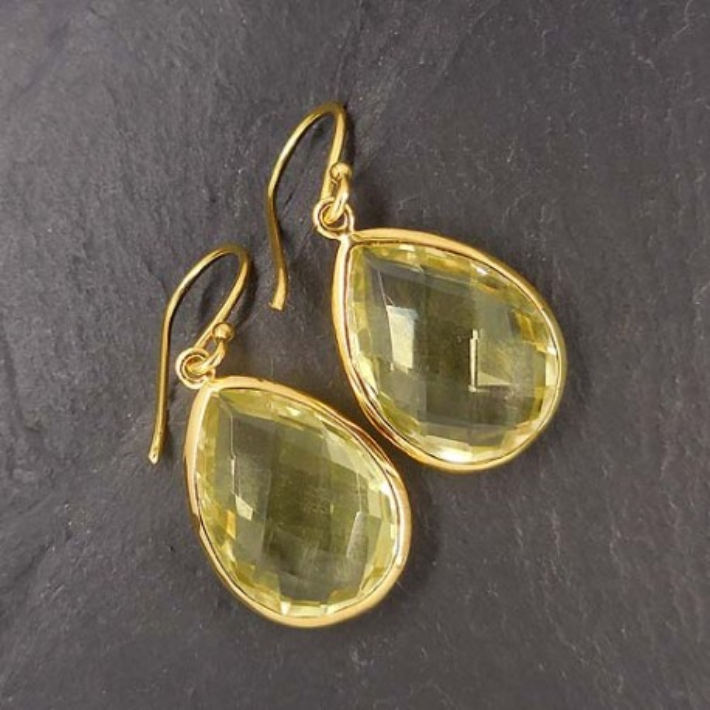 Lemon Topas Ohrringe vergoldet