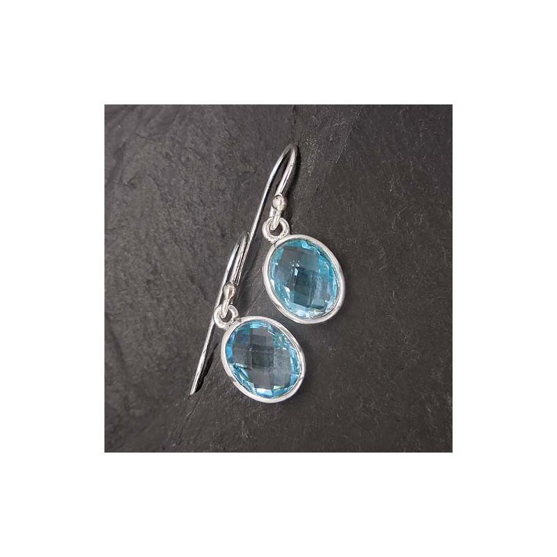 Blautopas Ohrringe oval