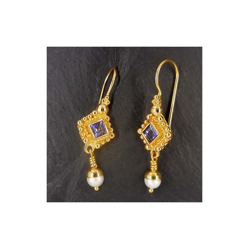Iolit Ohrringe mit Perle vergoldet