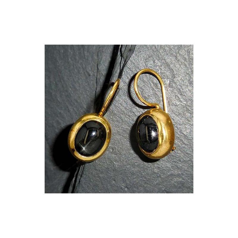 Ohrringe, vergoldet mit Sterndiopsid