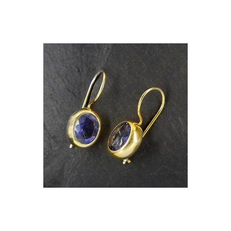 Ohrringe, vergoldet mit Iolit