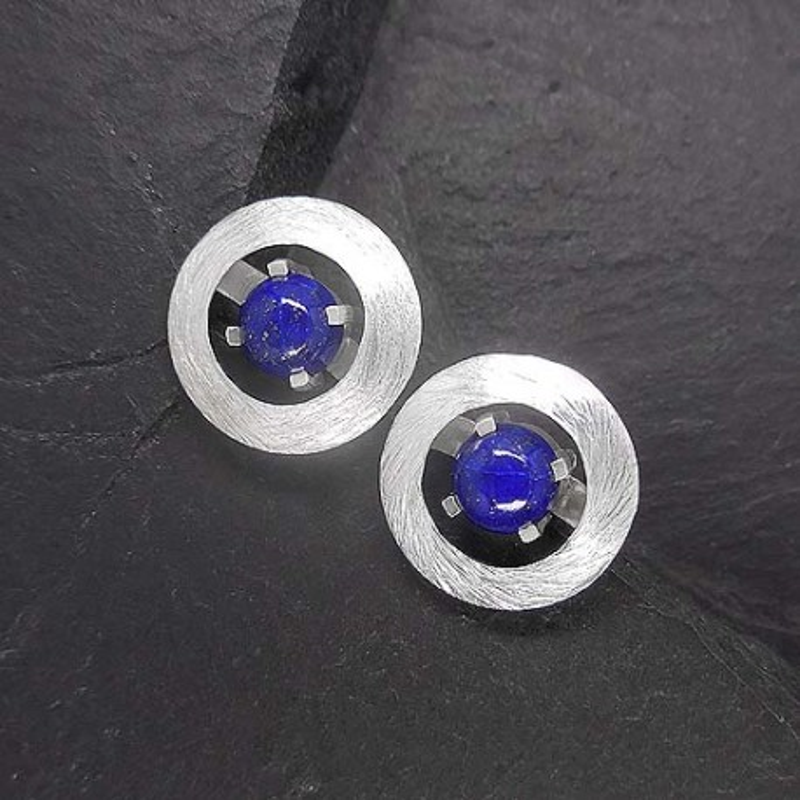 Lapis Lazuli Ohrstecker rund