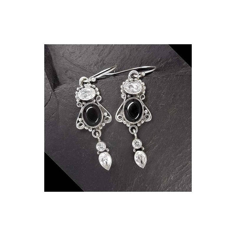 Ohrringe mit Onyx und Zirkonia