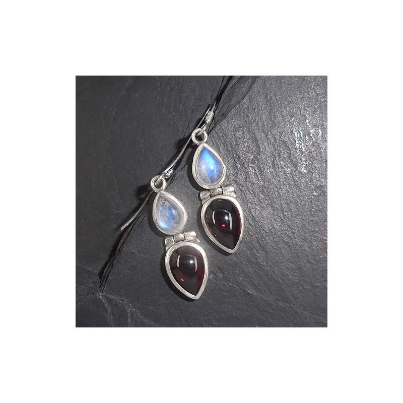 Ohrringe mit Mondstein und Granat