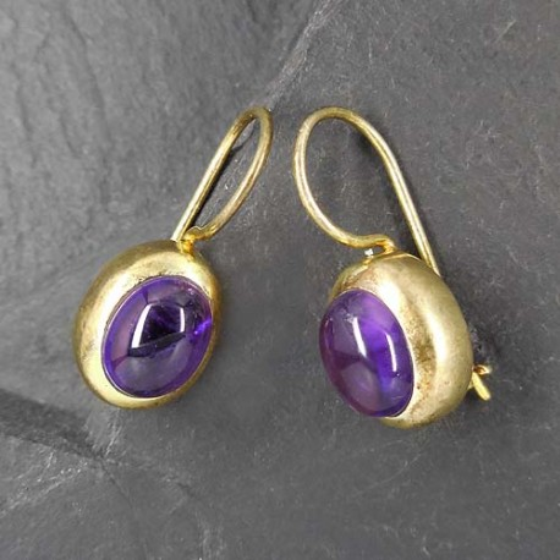 Ohrringe, vergoldet mit Amethyst