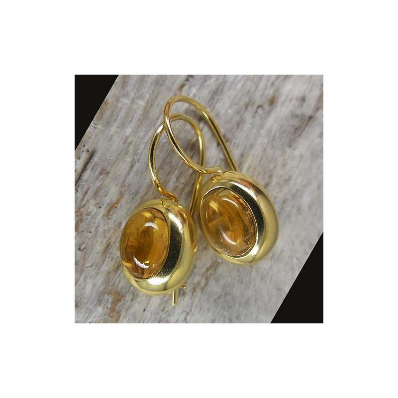 Ohrringe, vergoldet mit Citrin