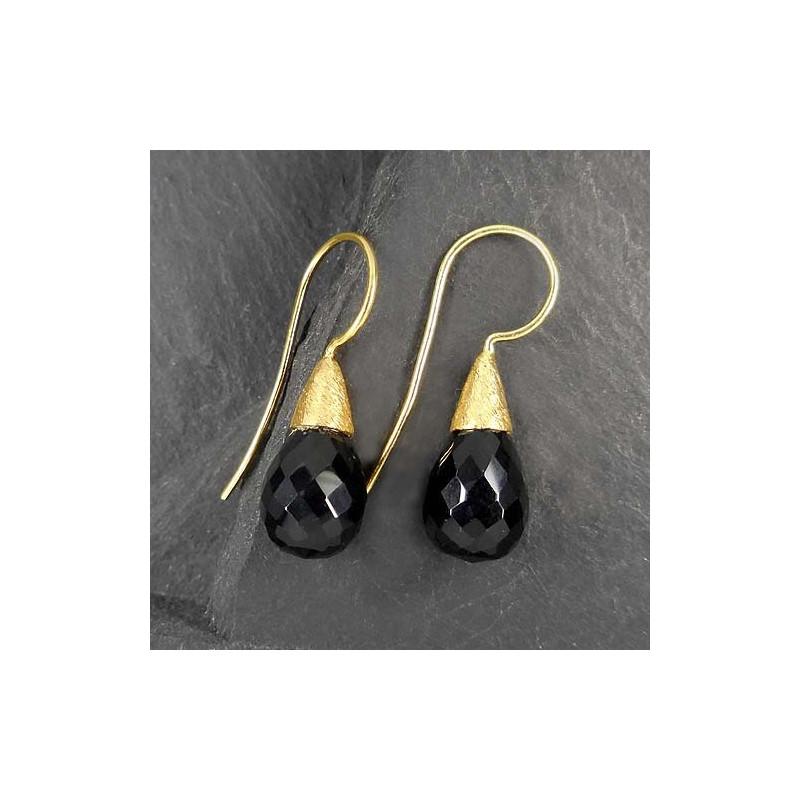 Onyx Ohrringe vergoldet (TOt)