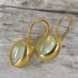 Ohrringe, vergoldet mit Prehnit