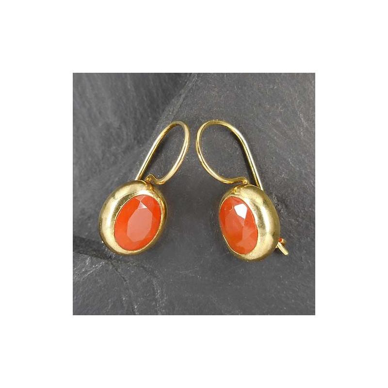 Ohrringe, vergoldet mit Karneol