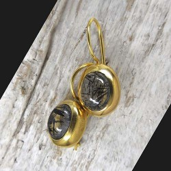 Turmalinquarz Ohrringe, vergoldet (TOg)