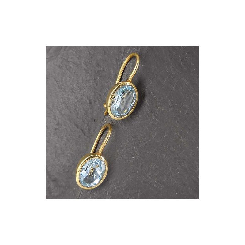 Ohrringe mit Blautopas, vergoldet