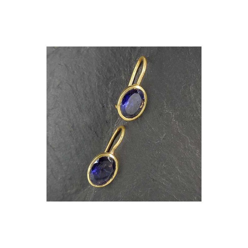 Ohrringe mit Iolit, vergoldet