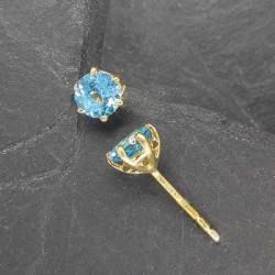 Blautopas Ohrstecker vergoldet