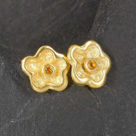 Citrin Ohrstecker Blume vergoldet