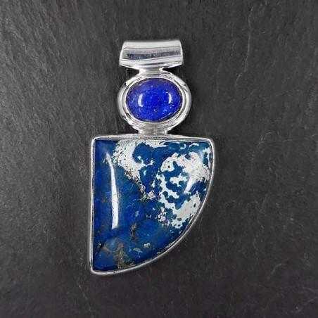 Chrysokoll Anhänger mit Lapis Lazuli